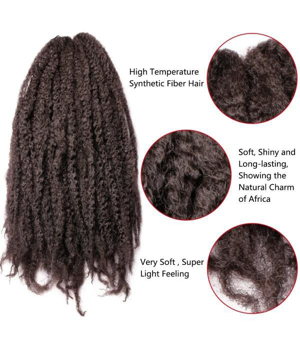 Afro Kinky Twist Hair | Kinky Curly Hair | Crochet Kinky Twist | Afro Kinkys Bulk Hair Braiding (18 inch x 3)