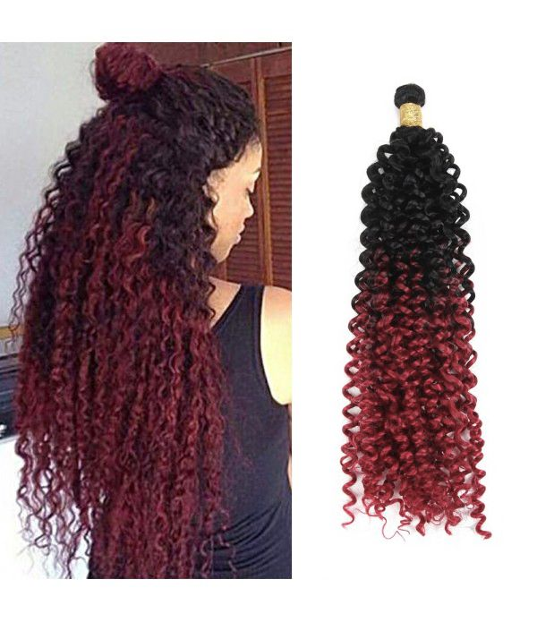 Ombre Kinky Curly Hair Water Wave Hair Synthetic Fiber Braiding Hair 3packs 14Inch