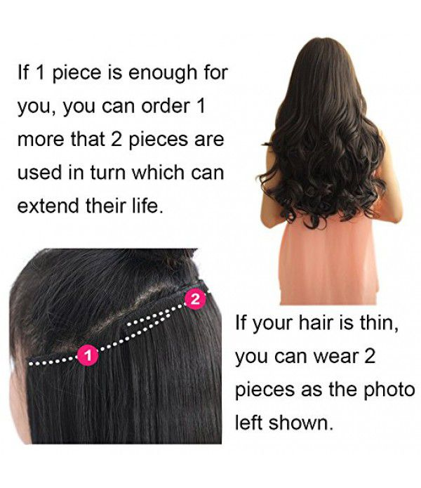 "20"" 1-pack 3/4 Full Head Curly Wave Clips in on Synthetic Hair Extensions Hair pieces for Women 5 Clips 4.6 Oz Per Piece - Dark brown"