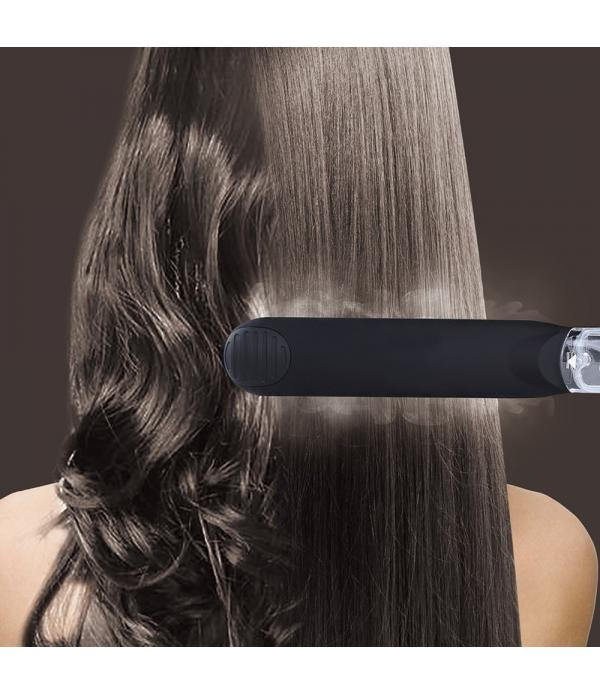 Heating Spray Steam Hair Straightener Salon Vapor Argan Oil Heat Straightening Plates Chapinha Steamer Flat Iron Black
