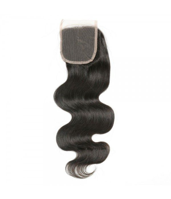 "8""~20"" Brazilian Lace Closure 4x4 Free Part 100% Body Wave Human Hair Brazilian Virgin Hair, 6A Natural Color(10 inches Free Part)"