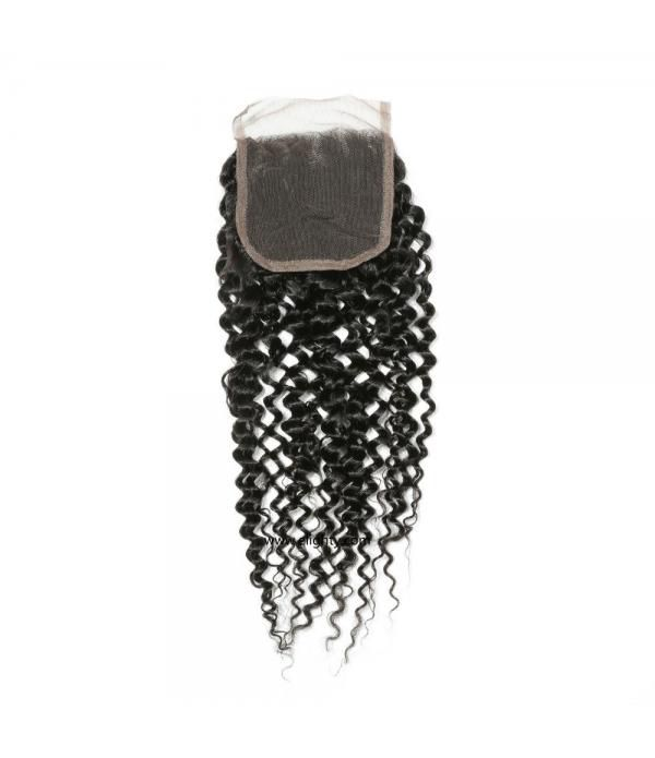 Brazilian Virgin Curly Hair Lace Closure Free Part...