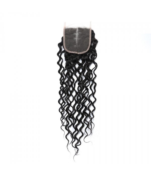Brazilian Lace Closure 4x4 Middle Part 100% Deep Wave Human Hair Brazilian Virgin Hair, 6A Natural Color (12/14 inches Middle Part)