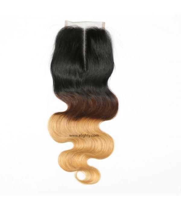 Brazilian Lace Closure 4x4 Middle Part 100% Body W...