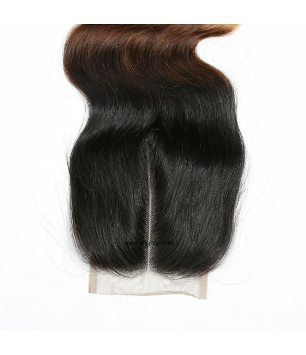 Brazilian Lace Closure 4x4 Middle Part 100% Body Wave Human Hair Brazilian Virgin Hair, 6A Natural Color (12 inches Free Part)