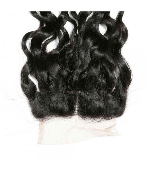 Brazilian Lace Closure 4x4 Middle Part 100% Natural Wave Human Hair Brazilian Virgin Hair, 6A Natural Color (14 inches Free Part)