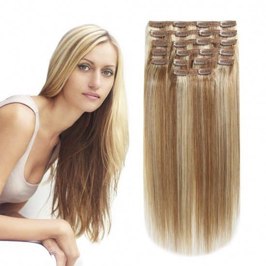 20 Inches 10 Pieces clip in hair human extensions
