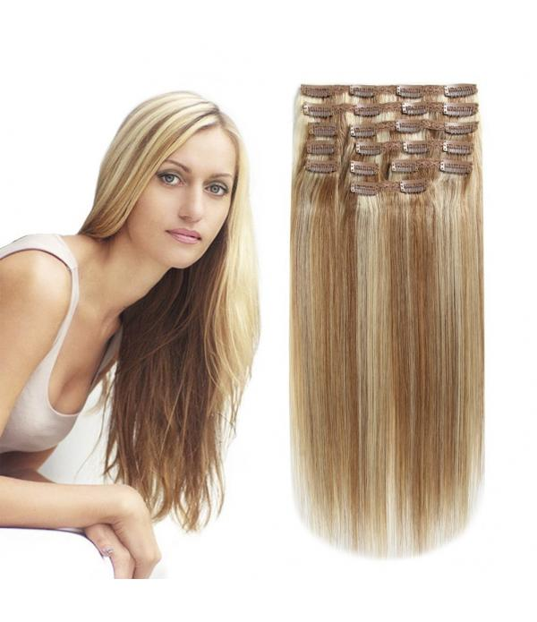 20 Inch 10 Pcs clip in hair Extension Remy Hair Re...