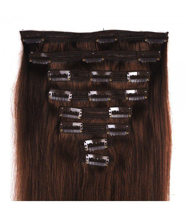 20 Inch 8 Pcs Clip in Hair Extension Real Human hair Extension Double Weft Thick Hair Extension  (#2 Dark Brown)