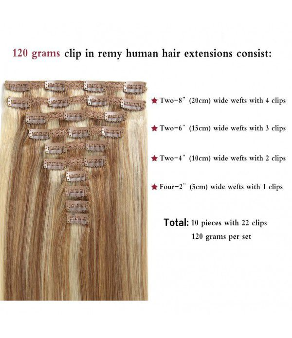 20 Inch 10 Pcs clip in hair Extension Remy Hair Real Human hair Double Weft Thick Hair Extension #12/613