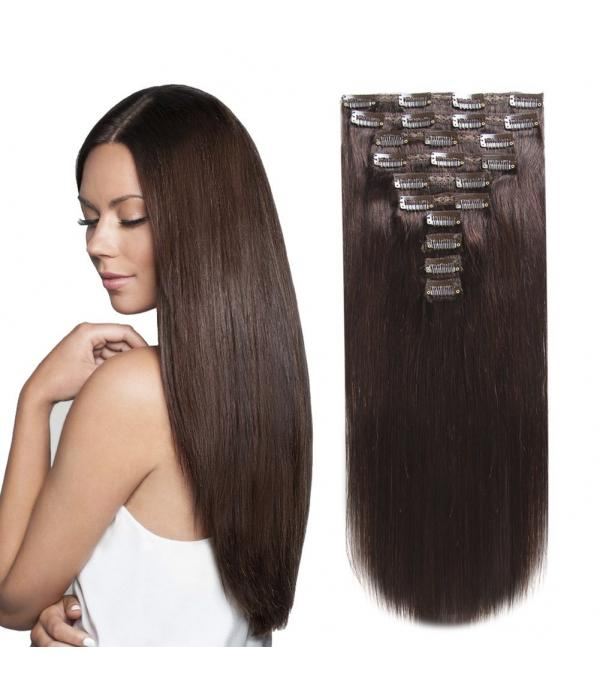 20 Inch 8 Pcs Clip in Hair Extension Real Human ha...