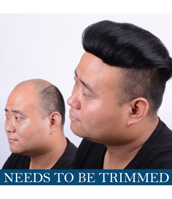 Human Hair Clip In Toupee Hairpieces Straight Hair Bang Fringe Top Closures   Hairpins for Men