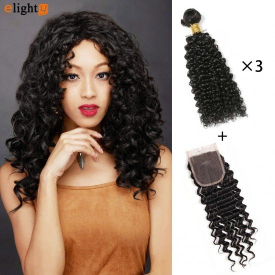 3 Bundles Brazilian Virgin Curly Hair