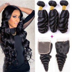 3 Bundles loose wave hair with closure