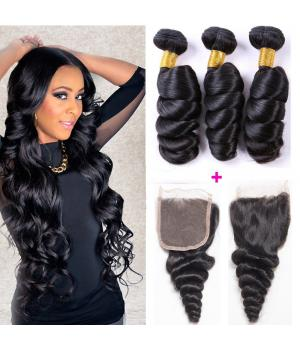 8A Brazilian Loose Wave Hair 3 Bundles Real Hair Extensions 300g Unprocessed Human Wavy Weaves Vendors Natural Color Milky Way Hair (12 14 16, Natural...