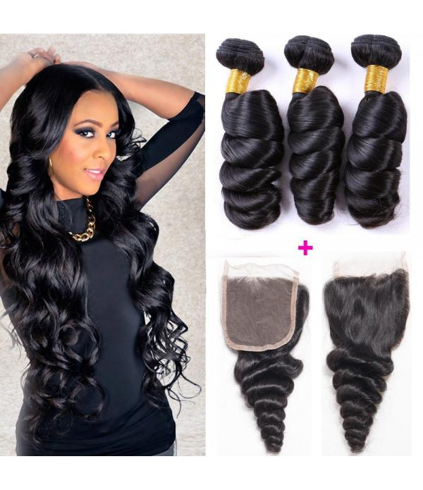 4 Bundles loose wave hair, 100 human virgin hair b...