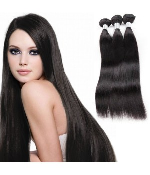 3 Bundles With Closure, Malaysian Hair 100 Remy Human Hair Extensions Virgin Straight Hair