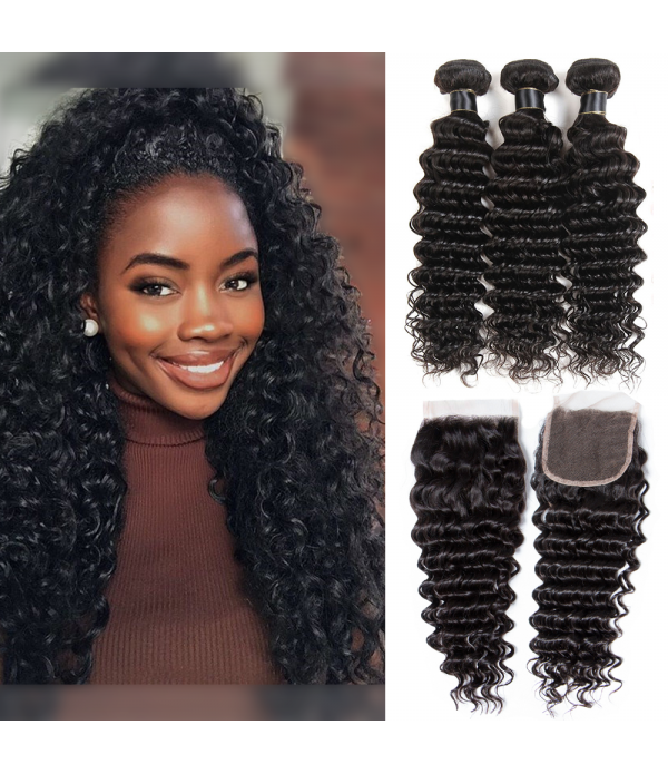 Brazilian Deep Wave Hair, human Virgin pineapple H...