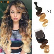 3 Bundles Ombre Body Wave Hair With Closure