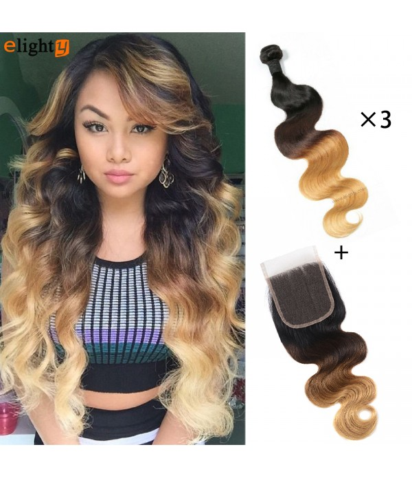 Brazilian Ombre Body Wave Virgin Human Hair Extensions Bundles
