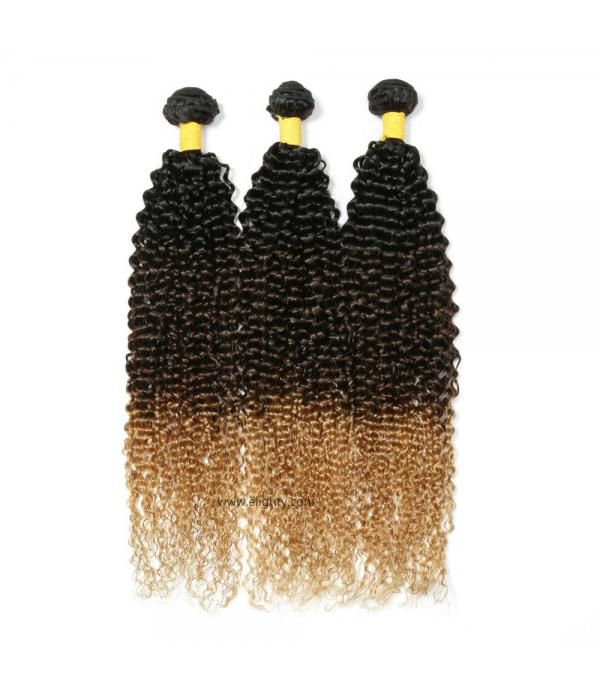 3 Tone Color Brazilian Ombre Kinkys Curly Hair Bun...