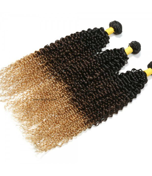3 Tone Color Brazilian Ombre Kinkys Curly Hair Bundles Grade 8A Virgin Ombre Curly Human Hair Bundles (18 18 18,T1B/4/27)