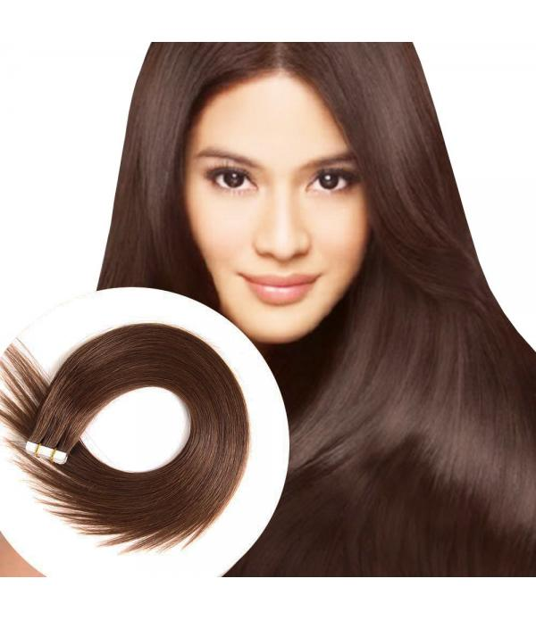 Medium Brown Tape in Hair Extensions Silky Straigh...