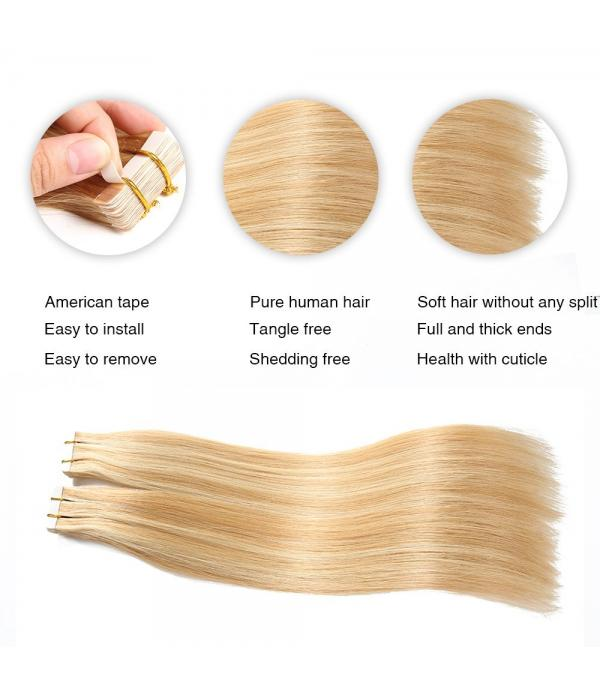 Tape in Hair Extensions Remy hair human Hair Extensions Silky Straight Bleach Blonde Highlighted with Honey Blonde(20 inch 20pcs 40g/pack  #27--#613)