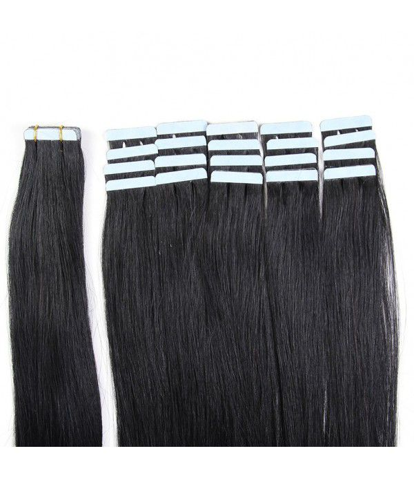 Tape In Hair Extensions 100% Remy hair Straight Human Hair Extension 20 inch Skin Weft  20pcs 50g/pack (#1) Jet Black