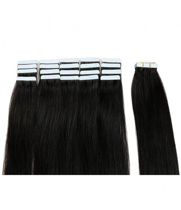 Tape In Hair Extensions 100% Remy hair Straight Human Hair Extension 20 inch Skin Weft  20pcs 50g/pack (#1B) Off Black