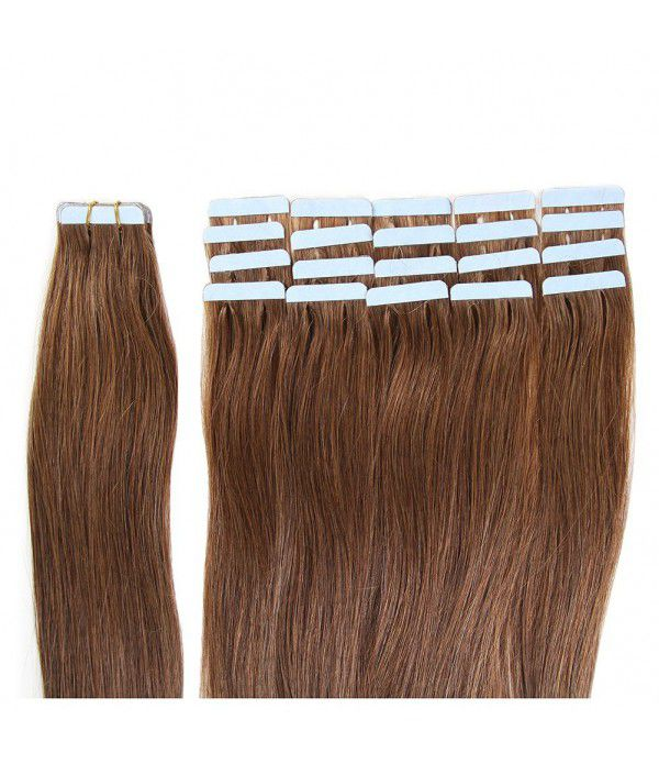 Tape In Hair Extensions 100% Remy hair Straight Human Hair Extension 20 inch Skin Weft  20pcs 50g/pack (#6) Chestnut Brown