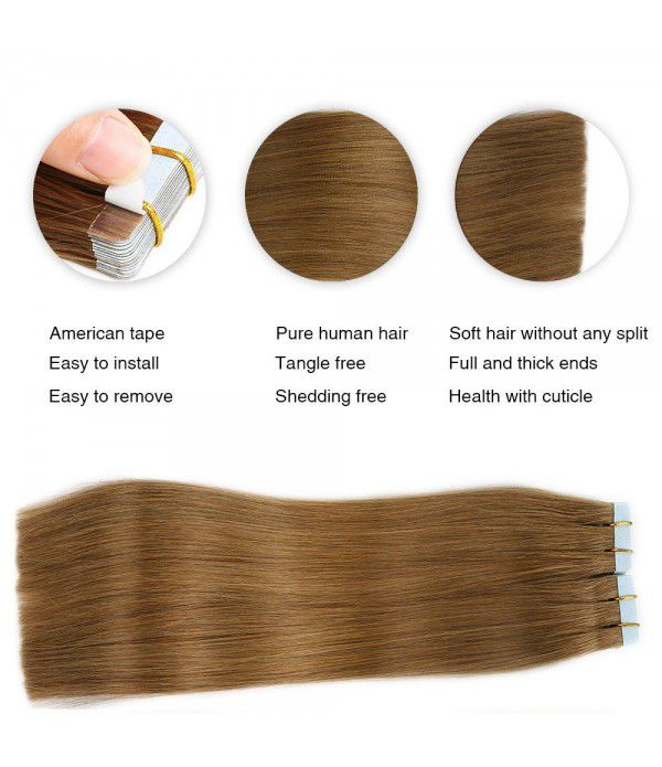Tape in Remy Hair Extensions 20pcs 40g/pack Silky Straight Human Tape Hair Extensions Light Brown(#8)