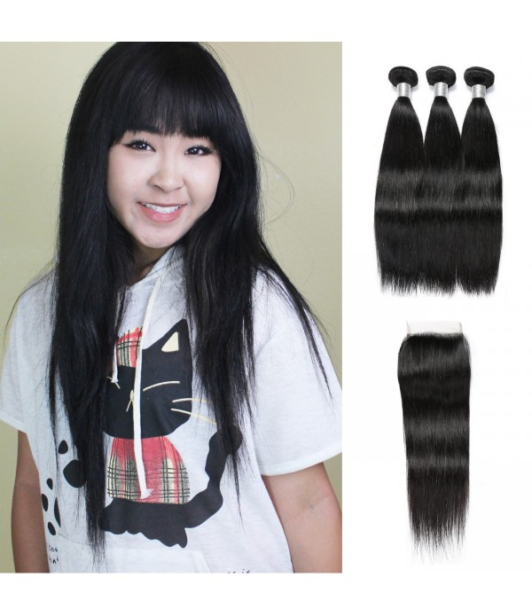 Peruvian Straight Hair With Closure 3 Bundles Unpr...