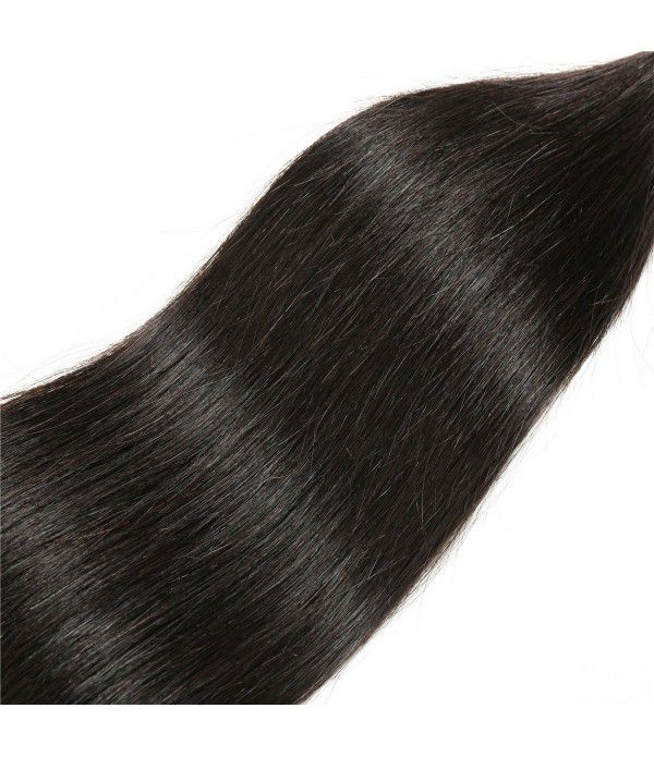 Peruvian Straight Hair With Closure 3 Bundles Unprocessed Virgin Human Hair Bundles With Lace Closure Free Part Hair Extensions Natural Color(12 14 16+10)