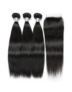 Peruvian Straight Hair With Closure 3 Bundles Unpr...