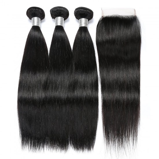 3 Bundles Peruvian Straight Hair With Closure
