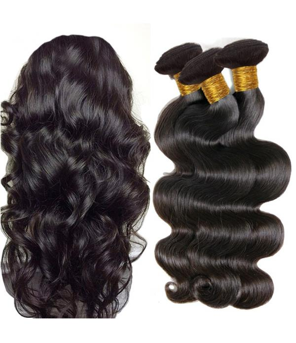 Brazilian Body Wave Hair Brazilian Virgin Hair 3 Bundles Full Head Set Unprocessed Virgin Human Hair Weave Natural Black (16inch 18inch 20inch)