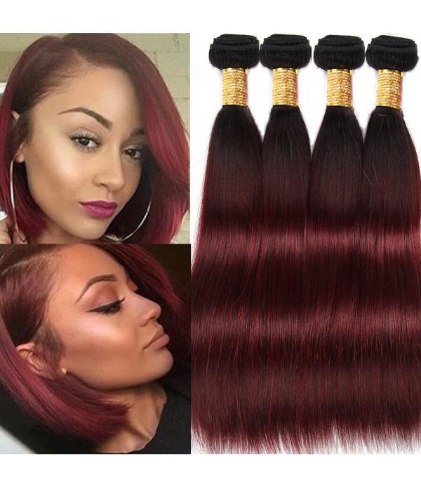 Grade 8a Hair Virgin 99j Burgundy Hair Weave 3 Bundle Hair Deals Silky Straight Hair(99j 16 18 20 inches)