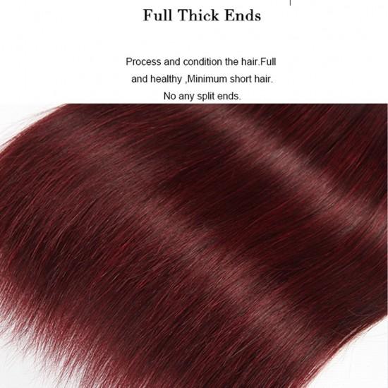 3 Bundle 99j Burgundy Straight Hair