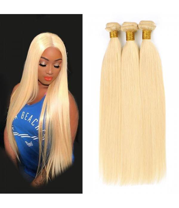 Blonde Straight Human Hair 3 Bundles With Closure ...
