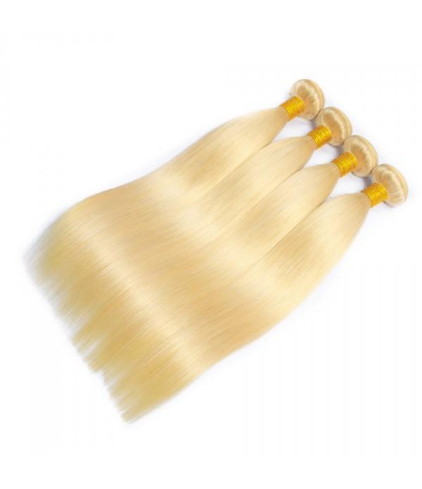 Blonde Straight Human Hair 3 Bundles With Closure 100% Remy Brazilian Straight Hair With Closure 613 Full Blonde