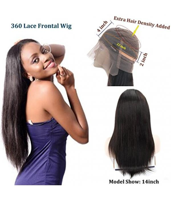 Density 360 Lace Wigs Pre Plucked Natural Hairline Straight 360 Lace Frontal Wig Malaysian Virgin Hair Full Lace Human Hair Wigs With Baby Hair