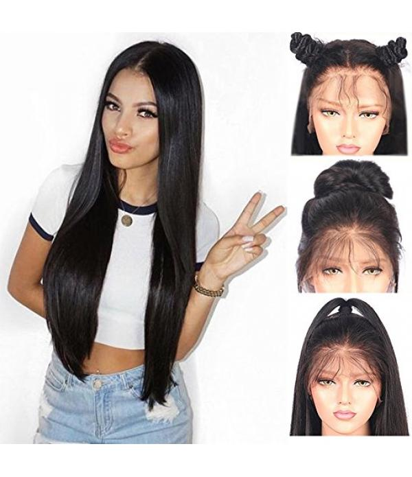 "Lace Front Synthetic Wigs Long Straight Heat Resistant Hair Pre Plucked Wig with Baby Hair Bleached Knots for Women ( Black Hair 22"" )"