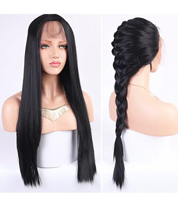 Lace Front Synthetic Wigs Long Straight Heat Resis...