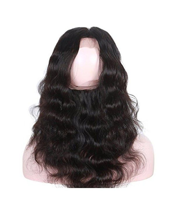 360 frontal Lace Wigs | Brazilian Body Wave Glueless Long Body Wave With Baby Hair Natural Black