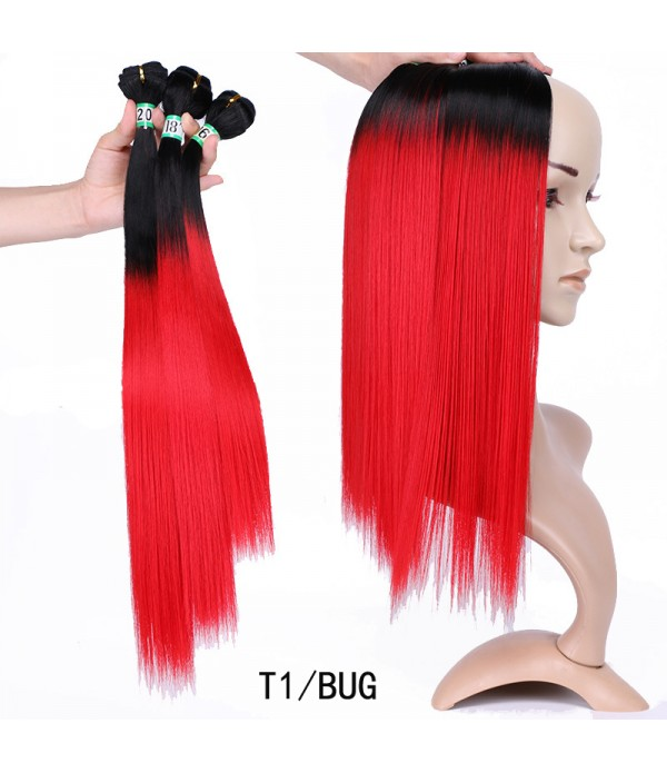 3 Bundles Ombre Braiding Hair Yaki Straight Weaving 100% Kanekalon Futura Synthetic Hair Extensions