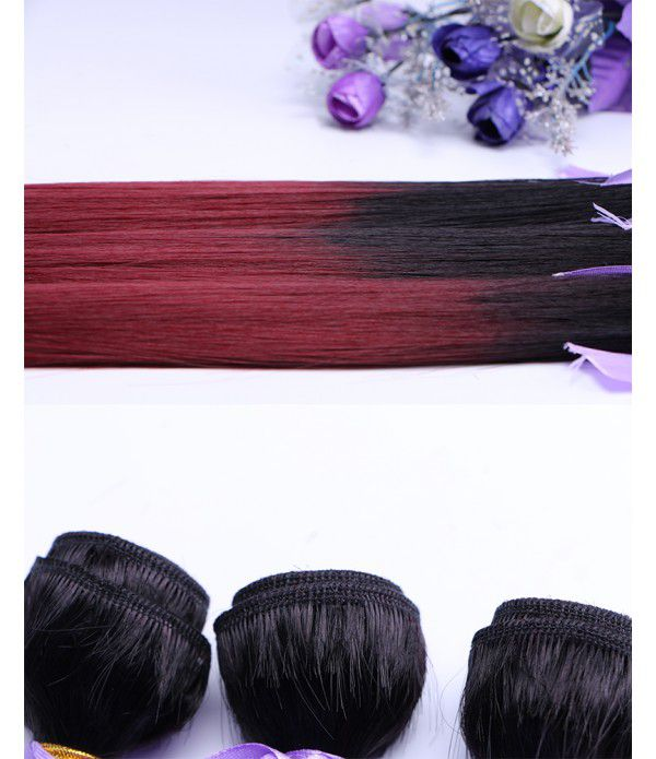 Synthetic Fiber Silk Straight Hair Weft Bundles Extension for Women (Color T1B/118#)