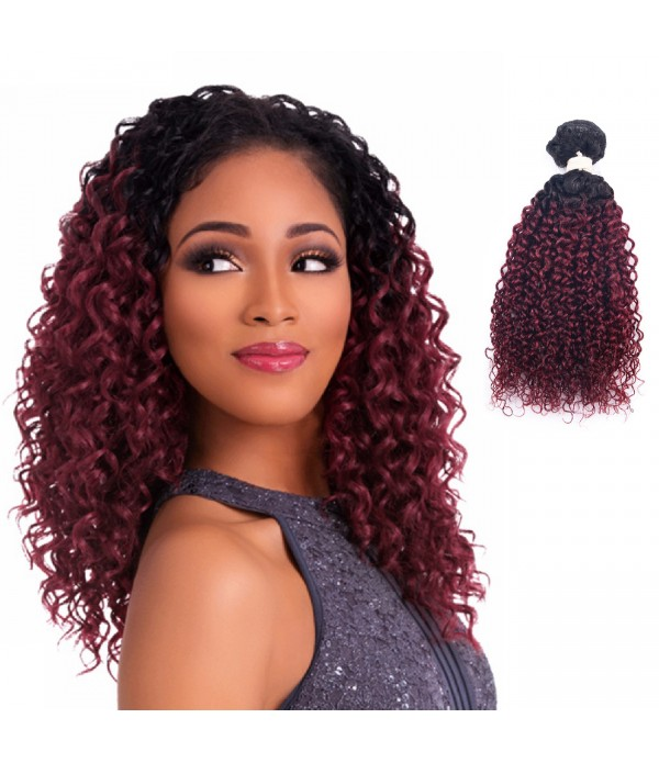 Ombre Fiber Hair | Curly Hair Extensions | short curly hair | 2 Tone Color Hair Fiber Bundles Extension (Color T1B/118#)