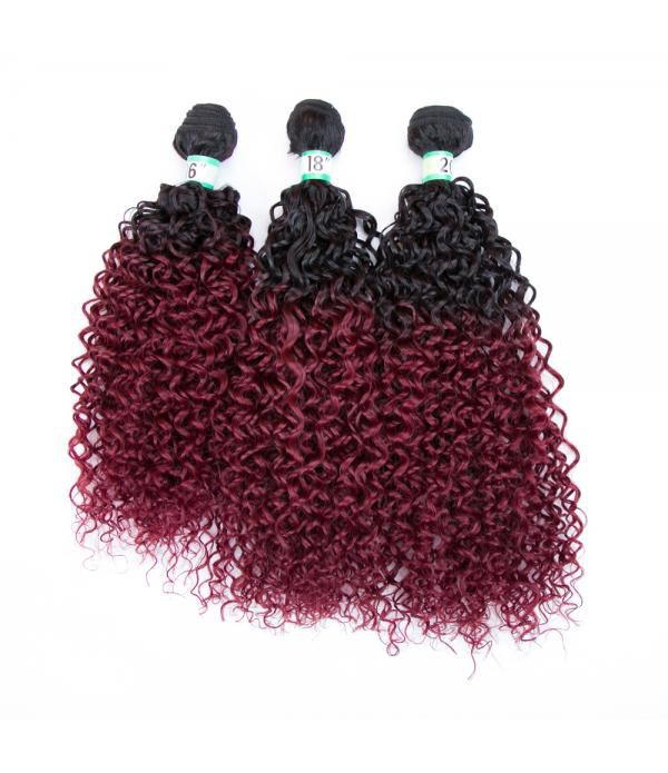 Synthetic Fiber Silk Straight Hair Weft Two Tone Color Bundles Extension for Women (Color T1B/118#)