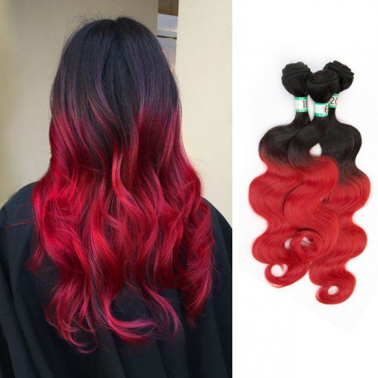 3 Bundles Ombre Synthetic Hair Extensions Body Wave